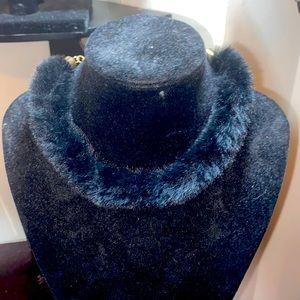Black furry choker necklace